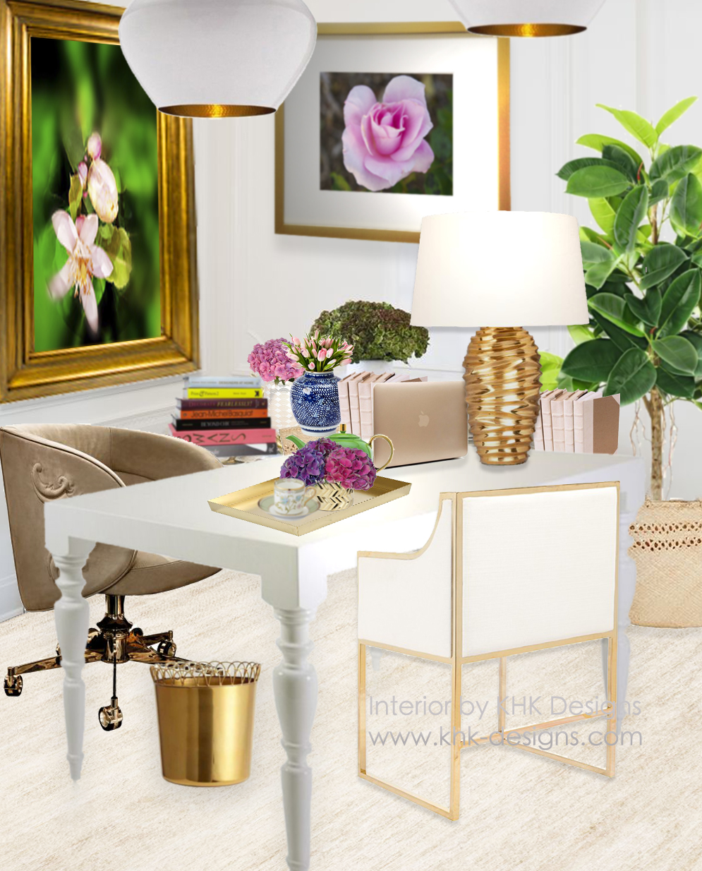 office designscom. A White-and-Gold Work Space Office Designscom