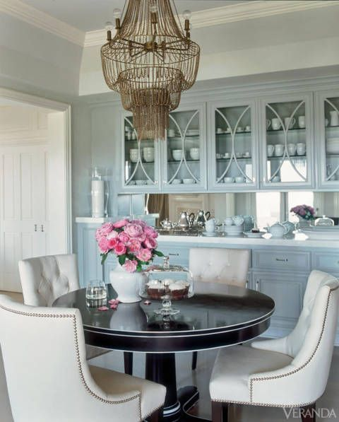 powder blue china cabinetry in J Lo's kitchen
