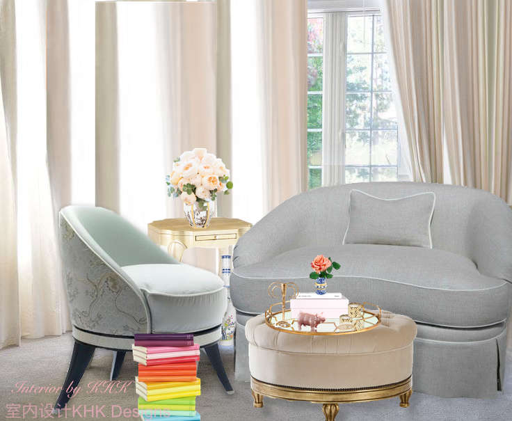 cozy and chic living area with powder blue seatings