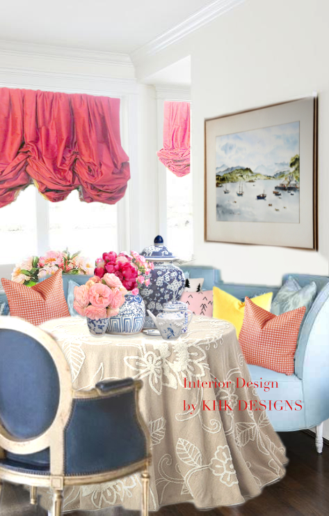 fridayroomblue-french-dining-settee-round-salvaged-wood-table
