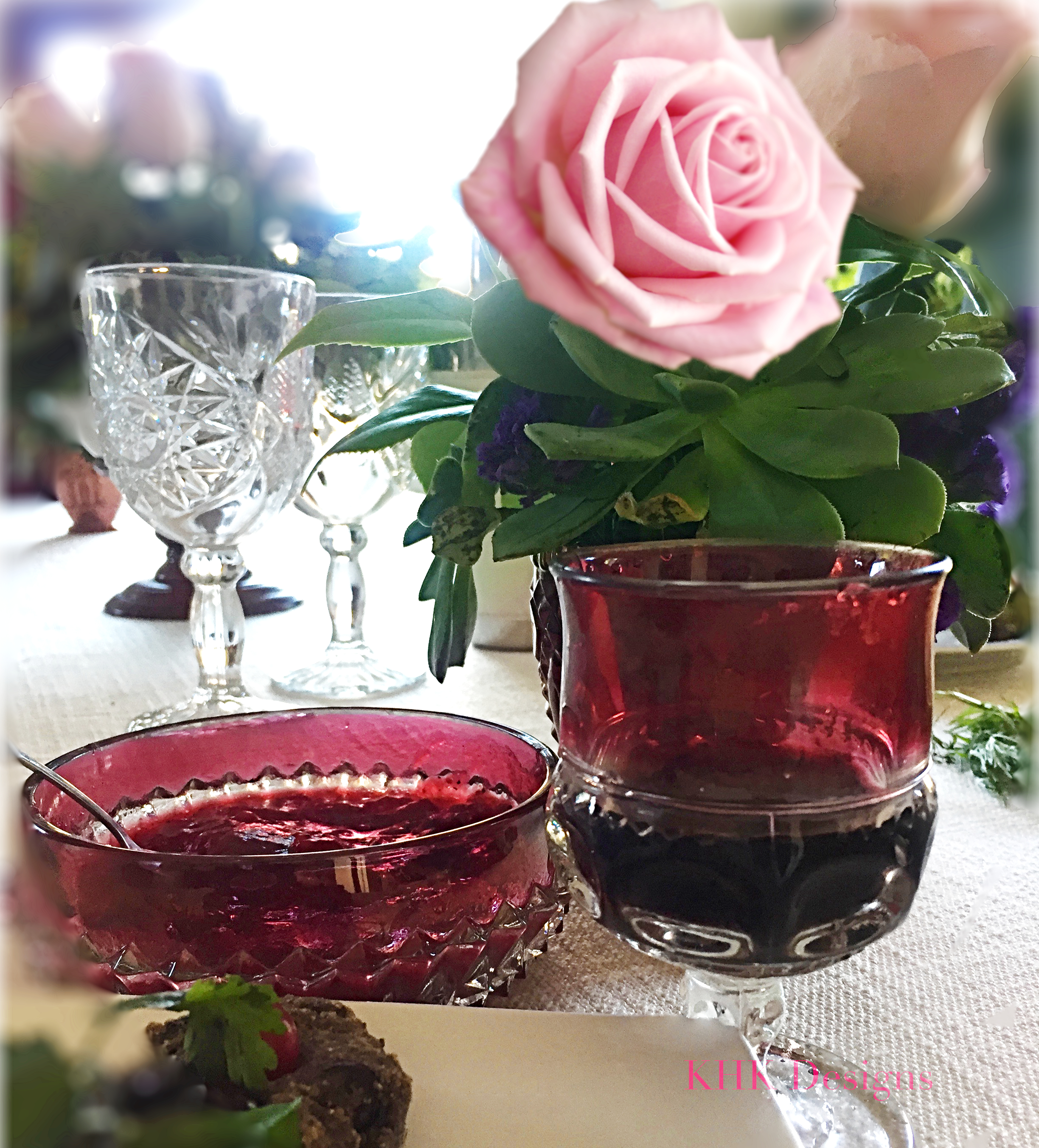 fresh flower tablescape with crystalware