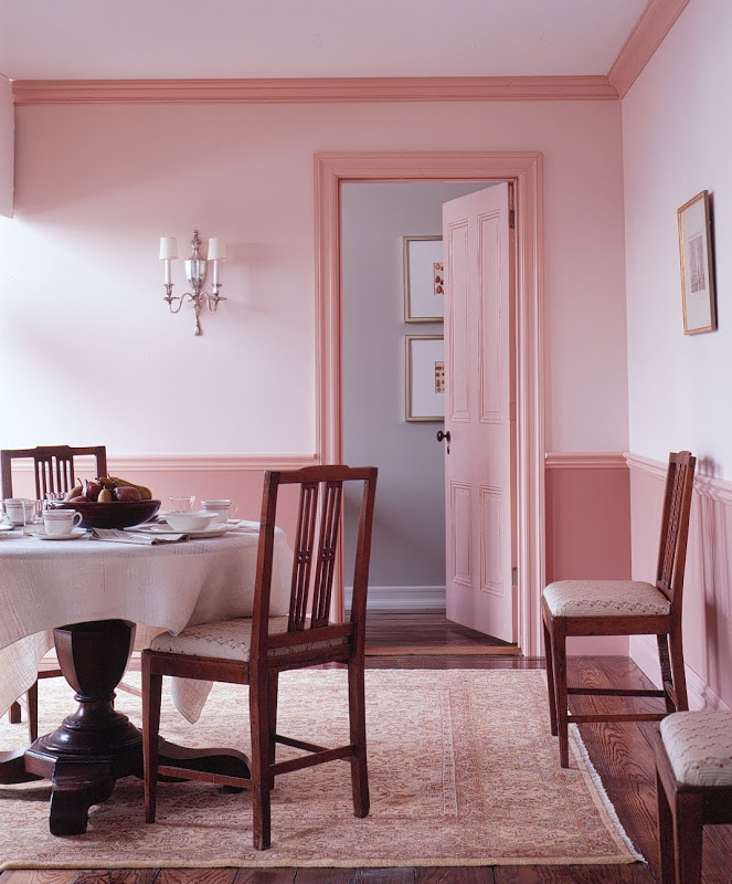 decorating-ideas-cheerful-dining-room-decoration-with-pink-wall-molding-chair-rail-including-round-white-table-cloth-and-light-walnut-wood-dining-chair-divine-home-interior-and-wall-decoration-using-c