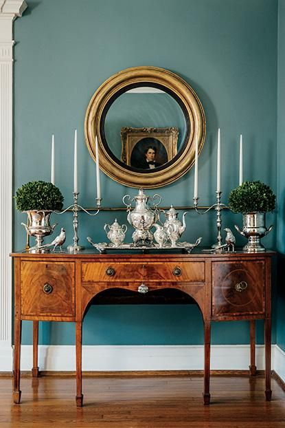 blue wall in a traditional foyer