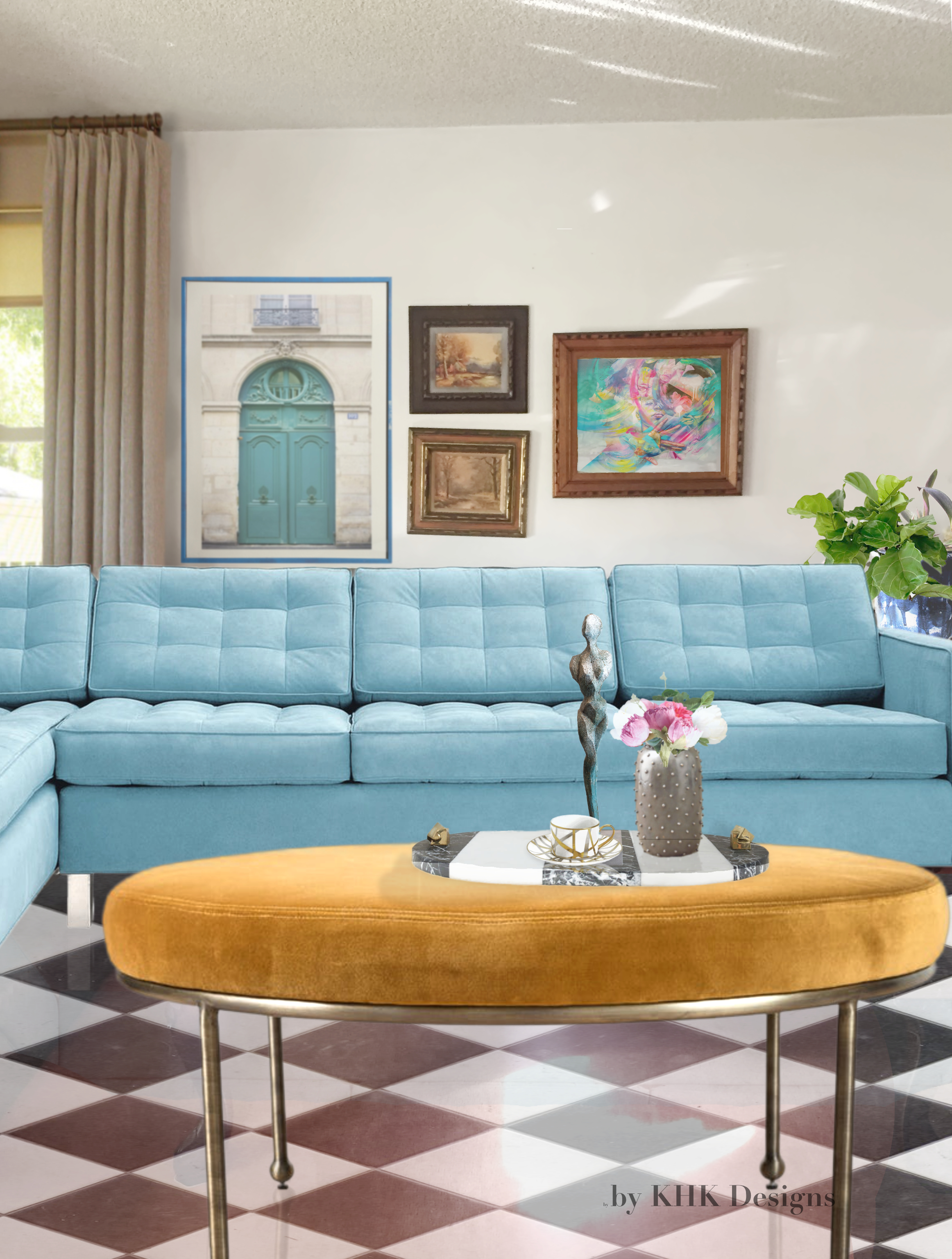 powder blue modern tufted sectional