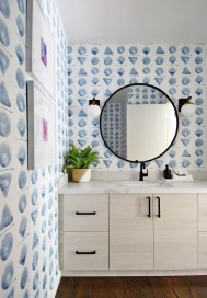 blue-geometric-wallpaper-powder-room-with-spoonflower
