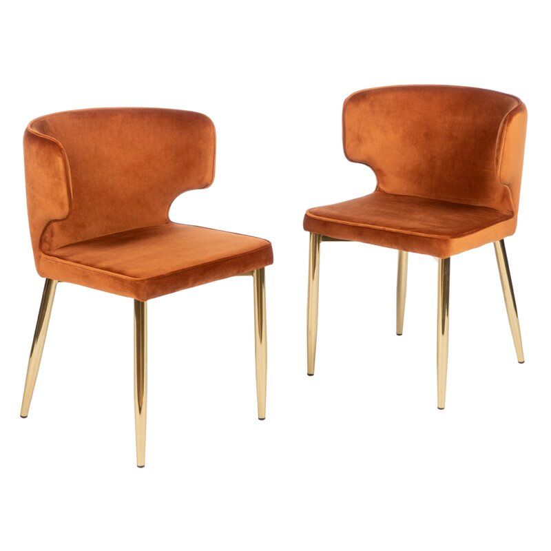 Fortunato+Tufted+Velvet+Upholstered+Side+Chair+in+Amber