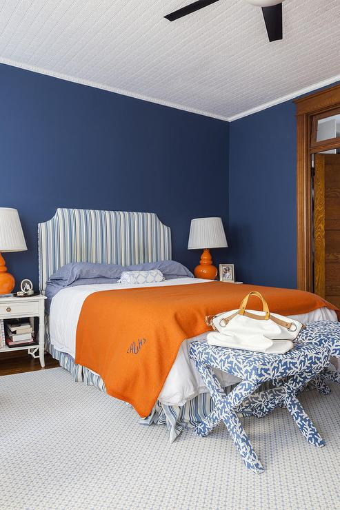 orange-and-blue-bedding-white-bamboo-nightstand-monogram-blanket