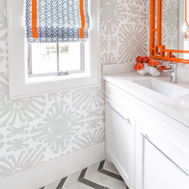 orangebathgrey-and-orange-bathroom-orange-bamboo-mirror-grey-chevron-tile-floor-59d6c2bf519de200105500fa