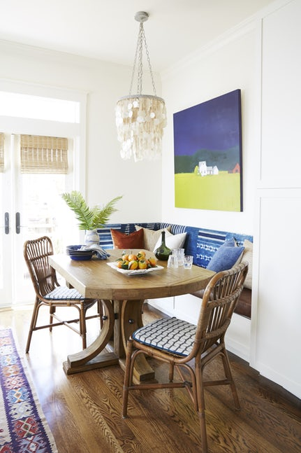 organic-feel breakfast nook with a touch of blue