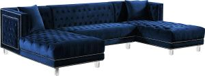 glam blue tufted sectional with lucite legs