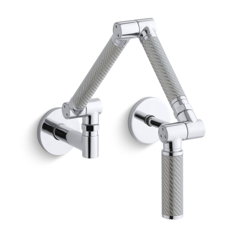 Karbon+Articulating+Two-Hole+Wall-Mount+Kitchen+Pot+Fillers+with+Spout+with+Silver+Tube