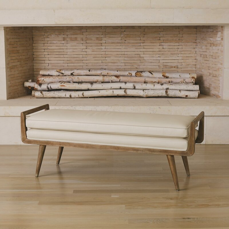Lucas+Long+Faux+Leather+Bench