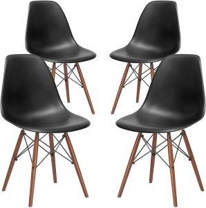 black mid-century chairs