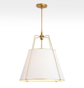 modern shaded pendant with brass details