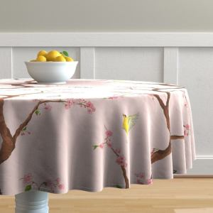 Pink Chinoiserie Round Tablecloth - Jenny Cherry Blossoms On Blush by domesticate - Garden Cotton Sateen Circle Tablecloth by Spoonflower