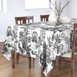 Chinoiserie Tablecloth - Vintage Toile Black White by peacoquettedesigns - Classic Black And White Cotton Sateen Tablecloth by Spoonflower