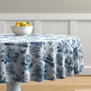 Chinoiserie Round Tablecloth - China Blue by emma_heeson_design - Floral Toile De Jouy Cotton Sateen Circle Tablecloth by Spoonflower