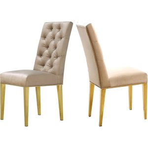Lilly+Upholstered+tufted+brass leg+Dining+Chair