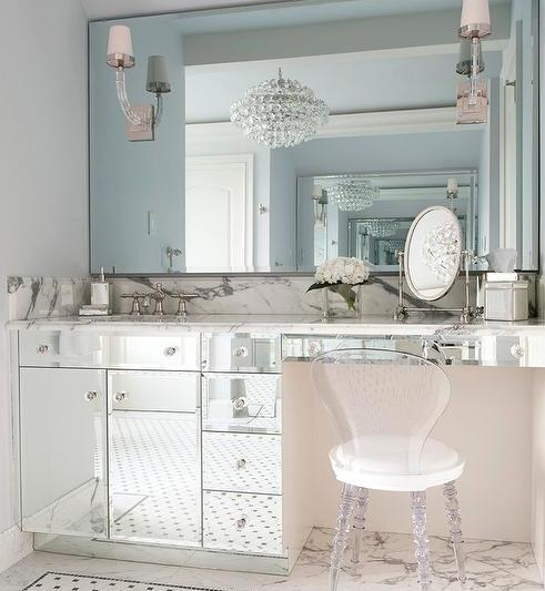 mirrored-bathroom-cabinets-crystal-cube-sconce-lucite-vanity-chair