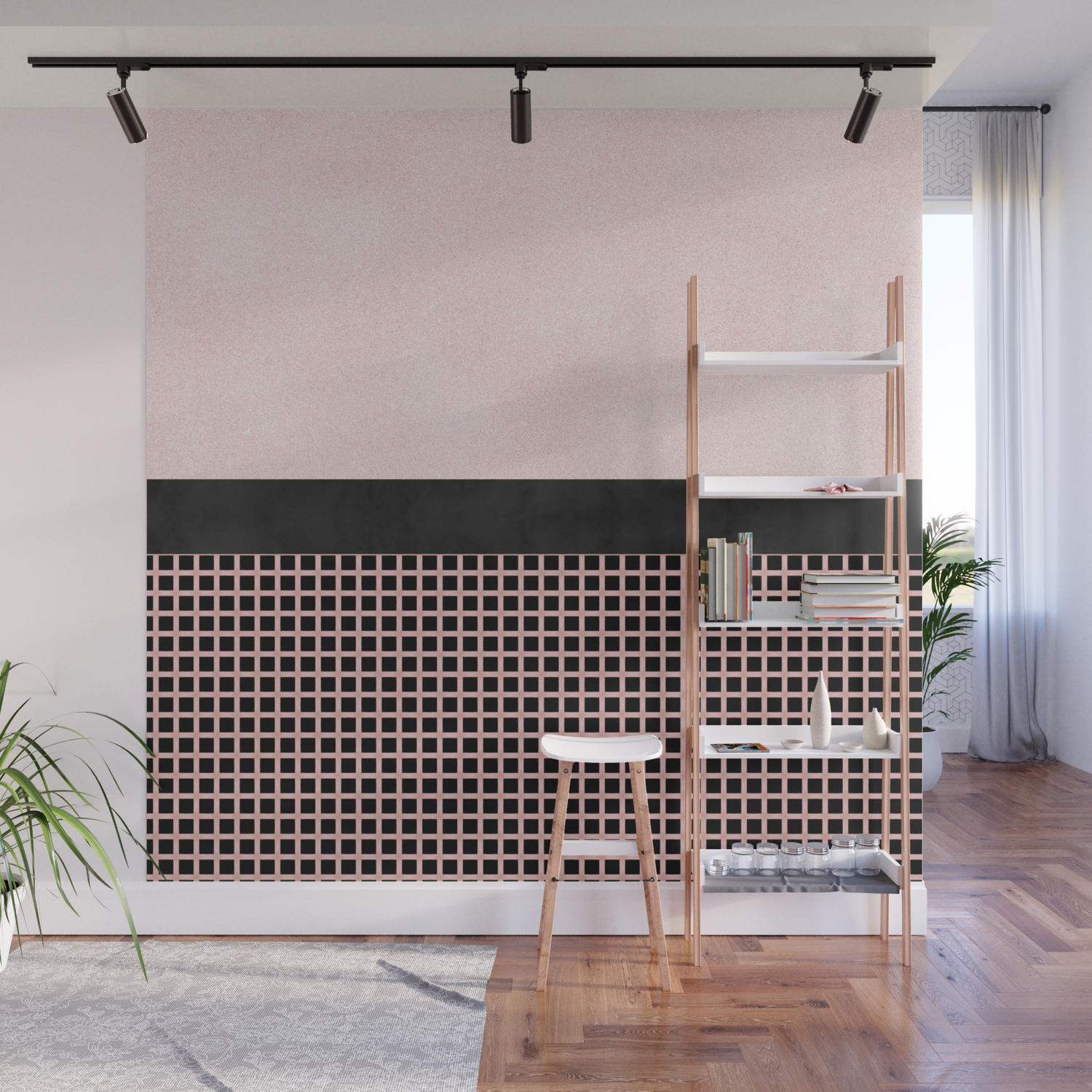 pbtextured-pink-design-with-black-checkered-pattern-wall-murals