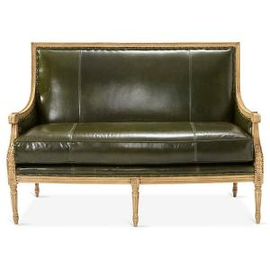 French  Settee, Evergreen Leather