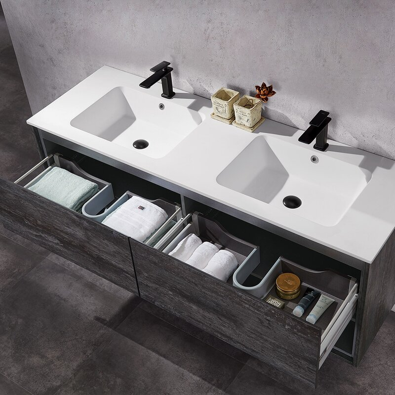 Snedeker+63+Wall-Mounted+Double+Bathroom+Vanity+Set