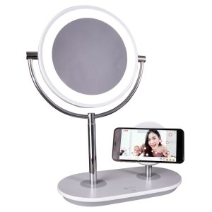 Wireless+Charging+Modern+Lighted+Magnifying+Makeup+Mirror