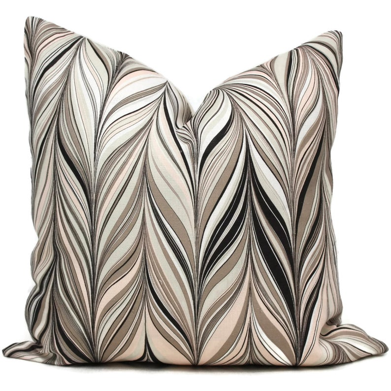 Mary McDonald Firenze Conch Decorative Pillow Cover - Throw Pillow - Accent Pillow Blush PinkGreige and Black Chevron