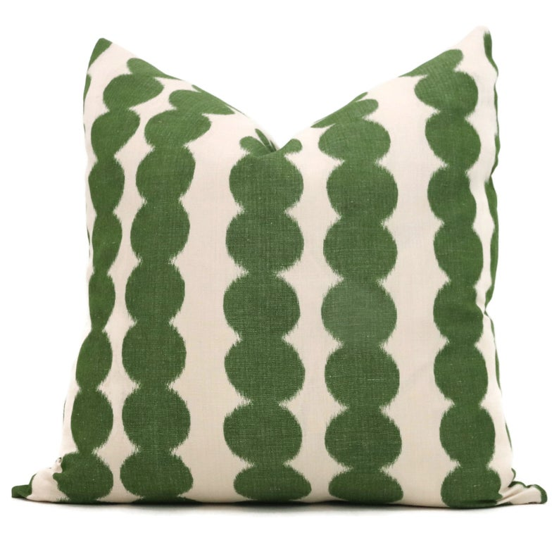 Schumacher Jungle Green Full Circle Decorative Pillow Cover, Made to order, Green and off white throw, toss pillow cover