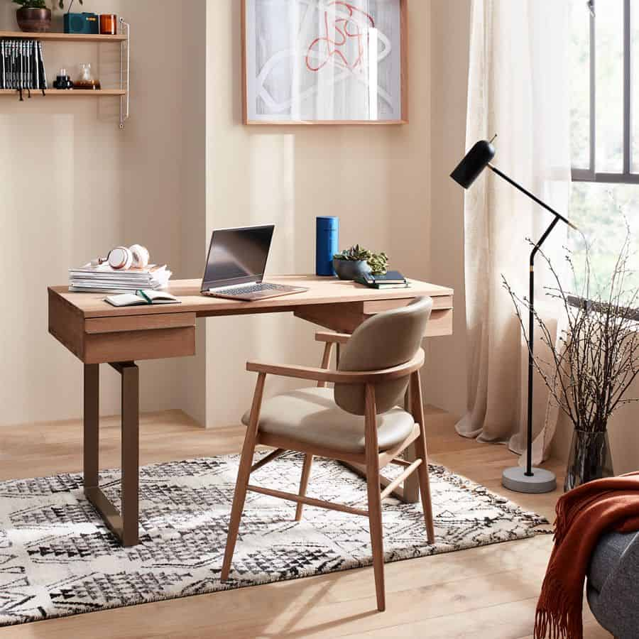 organic home office, warm, wood,