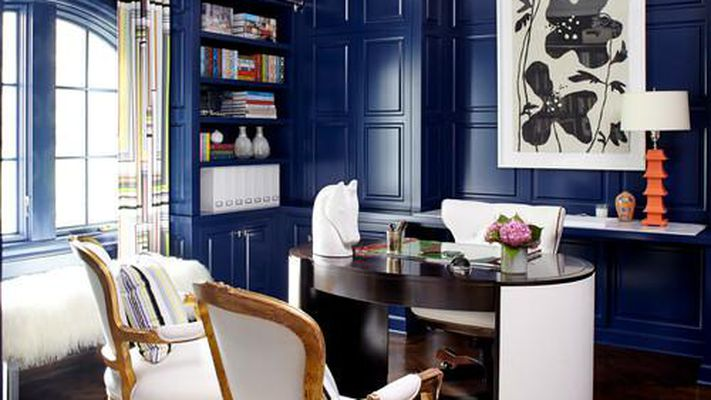 navy blue home office