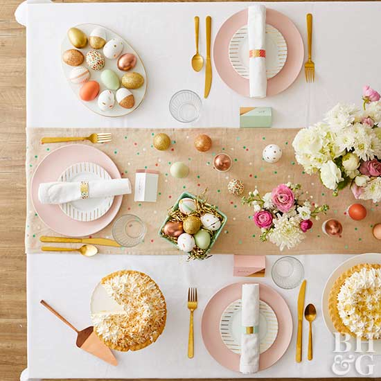 modern glam  Easter tablescape