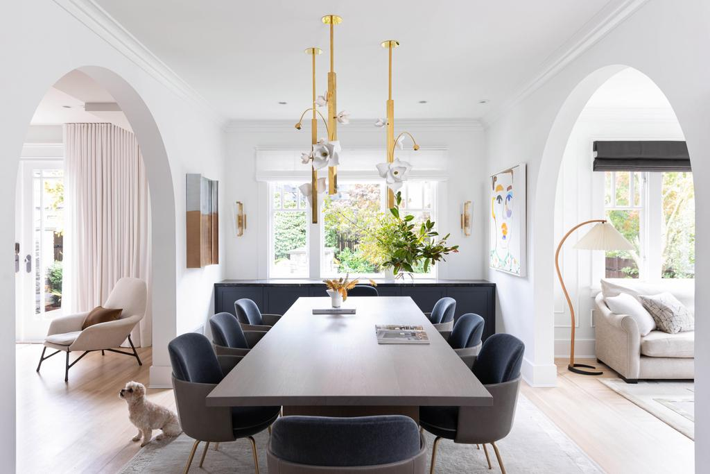 airy and bright modern dining room with a beautiful view