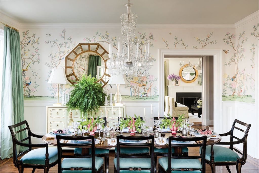pale chinoiserie floral-and-bird murals