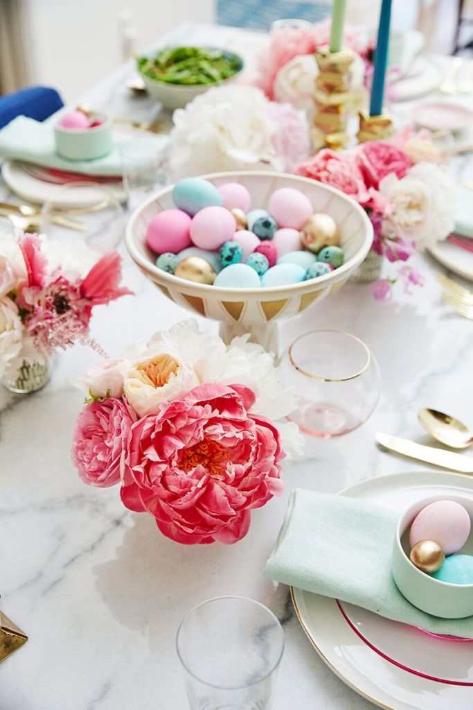 modern Easter tablescape in pastels