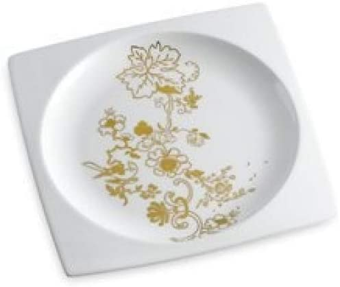white and gold Wedgwood White Floral Plate