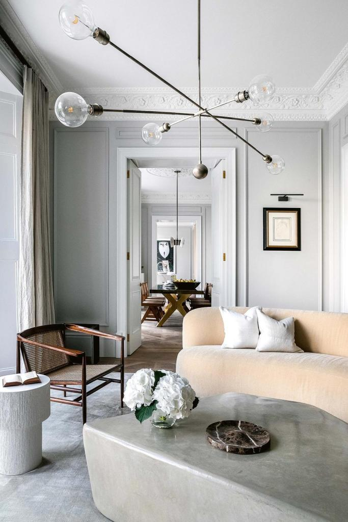the living room with  minimized  decor accessories and the classical architectural details