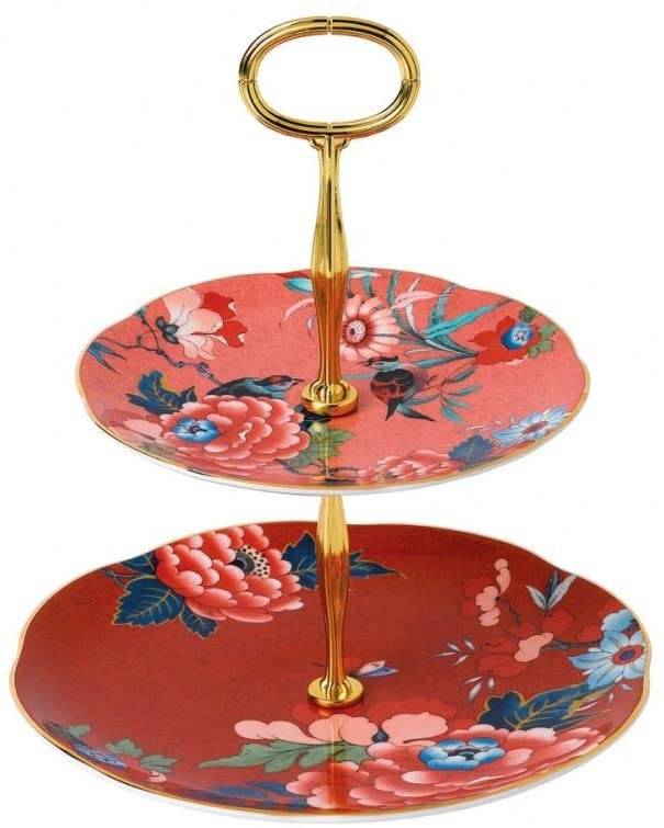 Wedgwood Paeonia Blush Cake Stand Two-Tier (Coral & Red)