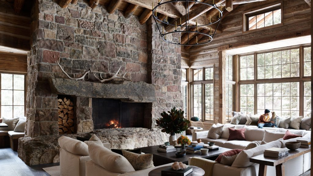 modern country living room with modern furnishings