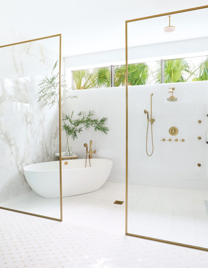 white light-filled shower with brass pluming