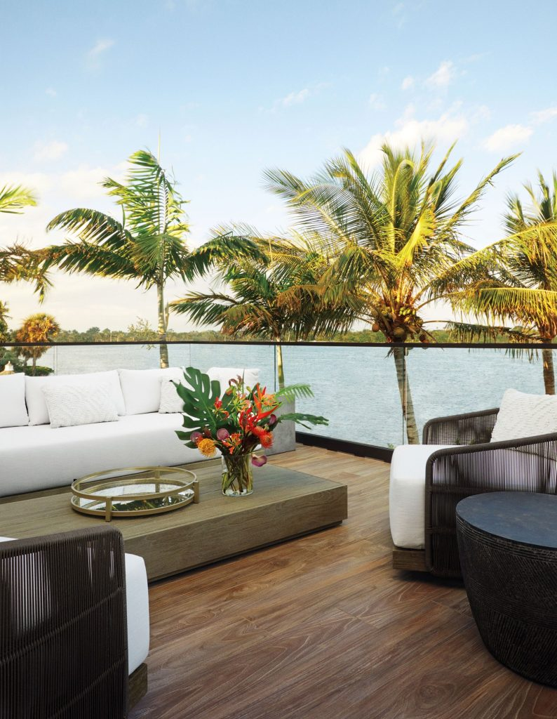 outdoor lounge area by the sea