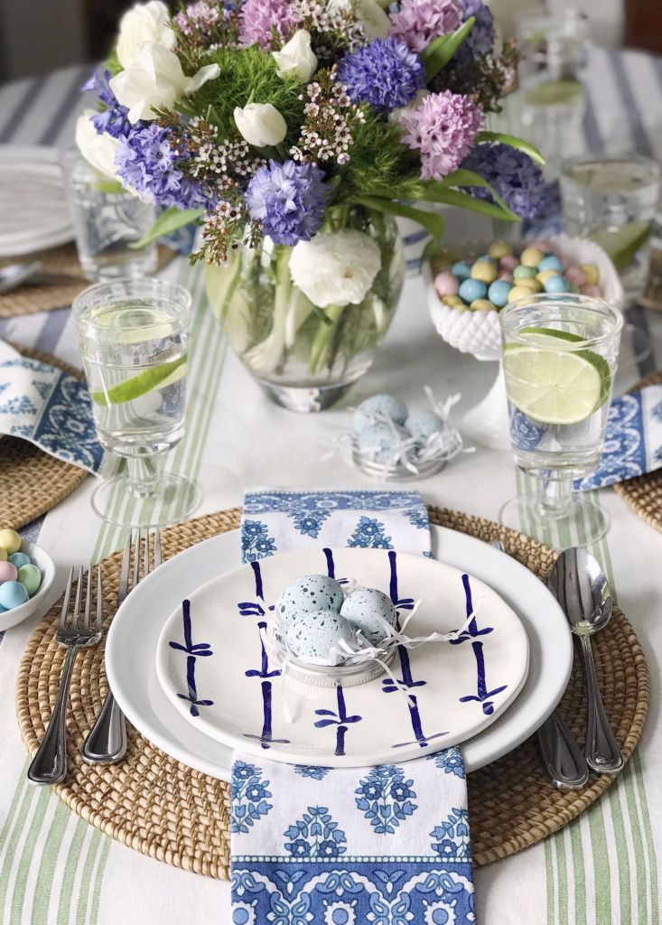 Eclectic Easter elegant tablescape with blue tablecloth