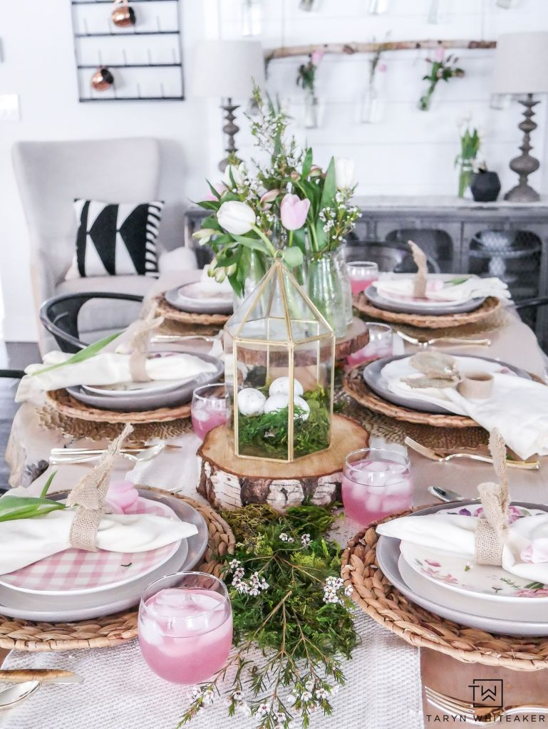 modern Easter tablescape in pastels with natural feel