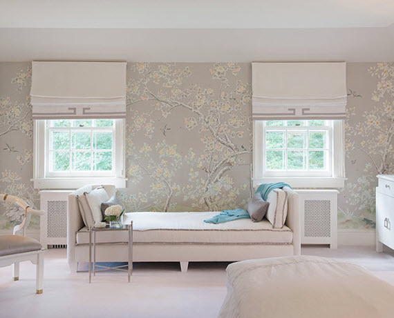creamy botanical garden themed chinoiserie wallpaper in this  all-white bedroom