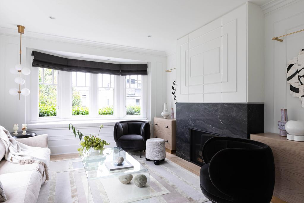 black, white and wood in a modern living room