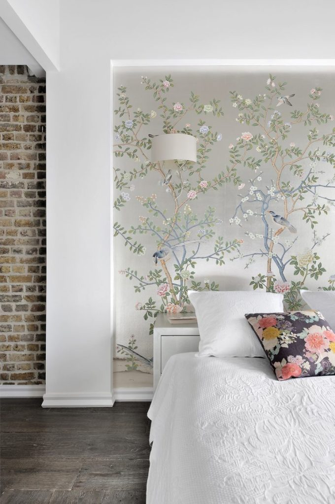 silver chinoiserie wallpaper in the bedroom