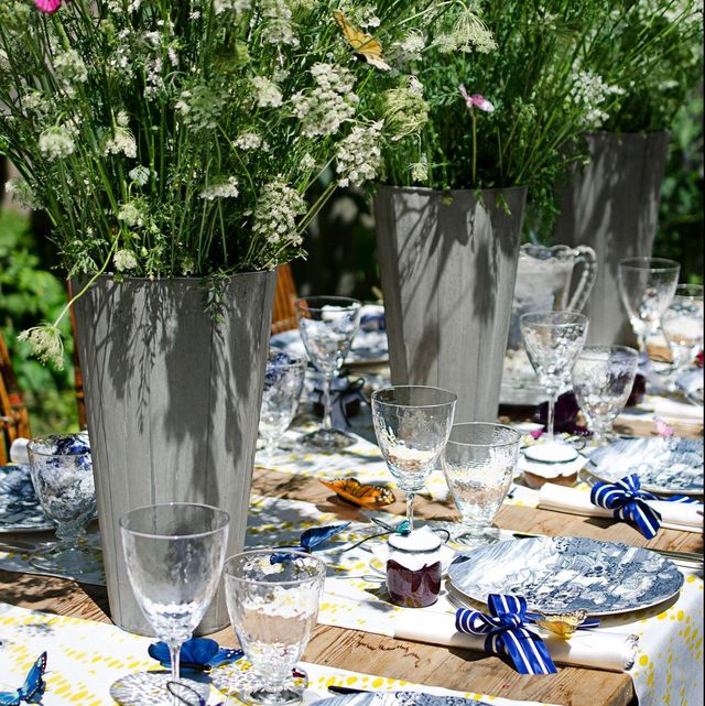 modern Easter tablescape in blue