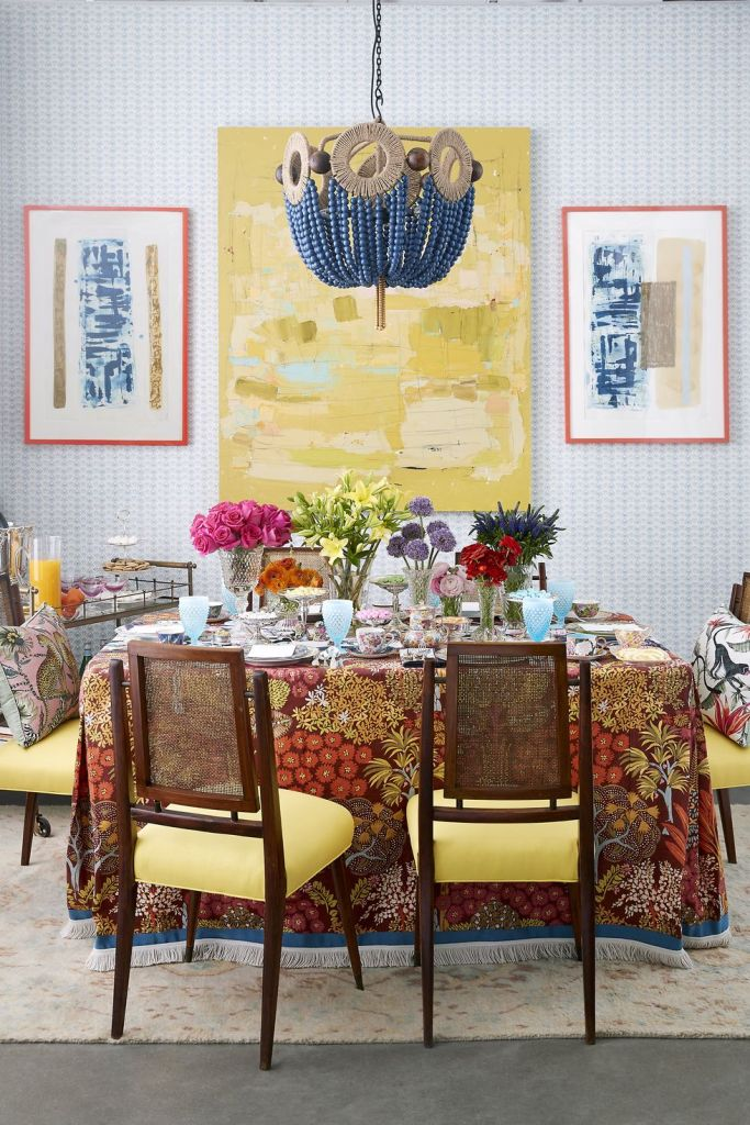 elegant  tablescape with exotic tablecloth