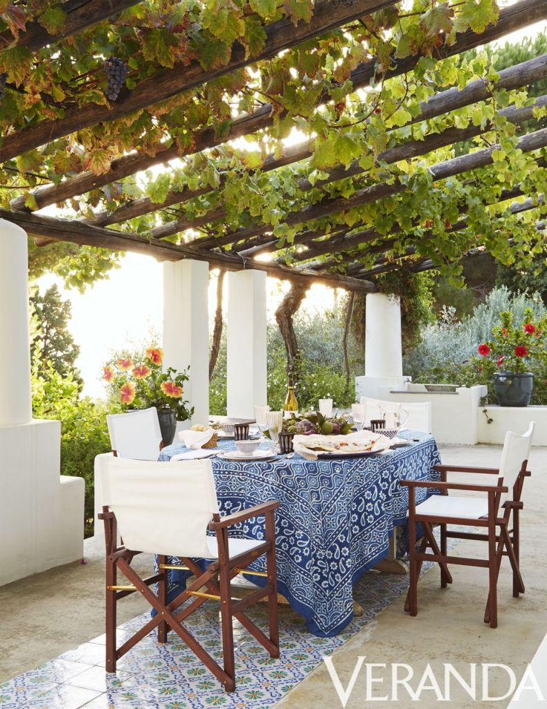 A blue hand block-printed tablecloth anchors this outdoor dining space with a chic boho vibe.