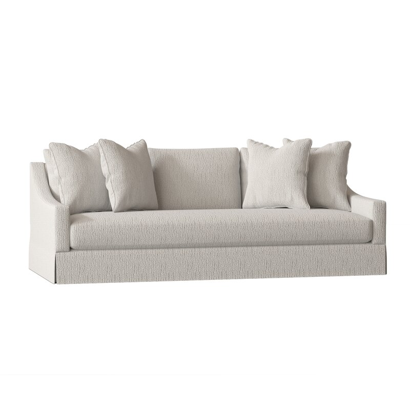 white modern skirted sofa